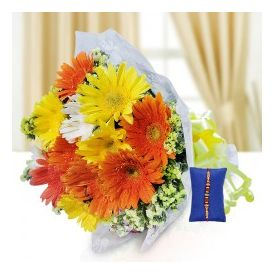 Mixed Gerbera With Rakhi
