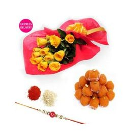Bunch of 12 Yellow Roses,rakhi