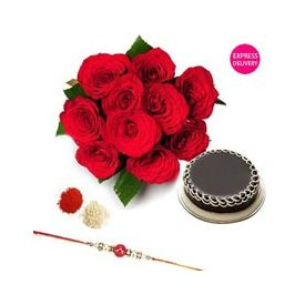 Bunch of 10 Red Roses, 1/2 kg chocolate cake with Rakhi
