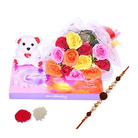 Bunch of 12 Mixed Roses,Chocolates ,Pearl Rakhi
