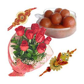 bunch of 8 pink roses, 1kg gulab jamun with 2 designer rakhi