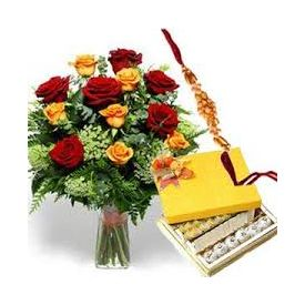 rakhi, bunch of mixes roses and 1 kg sweets
