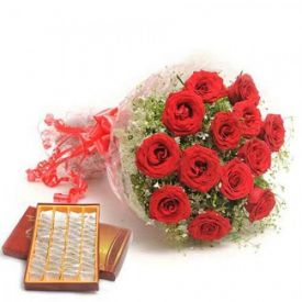 500 gm Kaju Katli ,bunch of 12 red roses