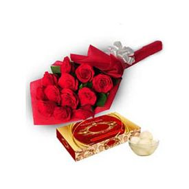 12 Red Roses ,1kg Rasgulla Sweet