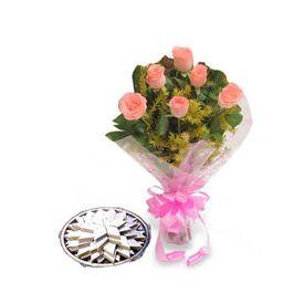 6 Pink Roses,500gm Kaju Katli