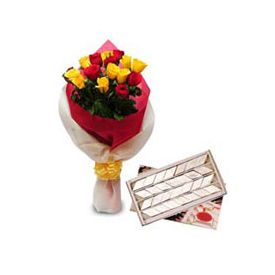9 yellow roses, 7 red roses,1kg Kaju Katli