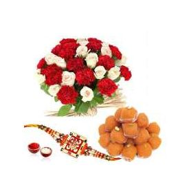 mix flowers, 1 kg laddu and designer rakhi