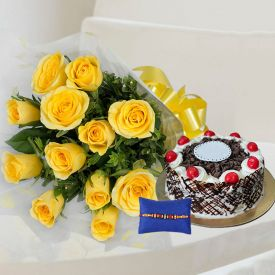 Yellow Roses With Rakhi