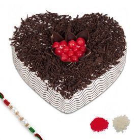 Heart Shape Cake With Rakhi