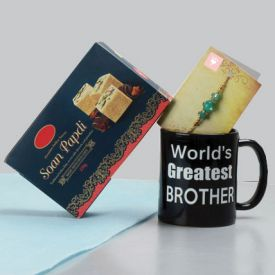 soan papdi ,coffee mug ,rakhi