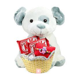 teddy bear, kit kat chocolates and designer rakhi