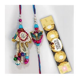 Rakhi with 5 pieces of Ferrero Rocher