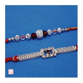 Silver Rakhi with Bracelet