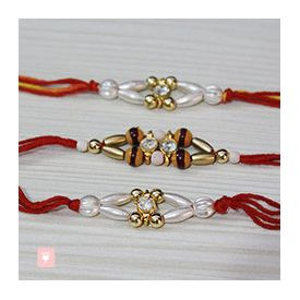 Set of 3 Beautifully Crafted Stone Rakhi