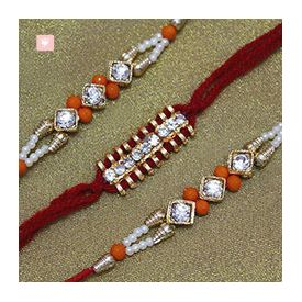 Rakhi set of 3 Beautiful Stone Studded Rakhis