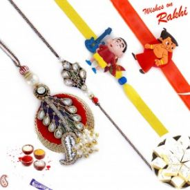 4 Designer Rakhi and Kaju katli