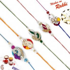 Set of 5 designer Multicolor Rakhi