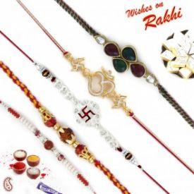 Set of 5 Kundan Studded Religious OM, Swastik & Rudraksh Rakhi