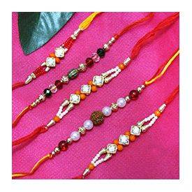 Set of 5 Rakhis,1 Pearl Rakhi, 1 colorfully Rakhi and 3 Stone