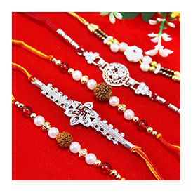 Set of 5 Rakhis, 2 Rudraksha Pearl Rakhis, 1 Designer Black Beaded Rakhi alongside with 2 Silver Sto
