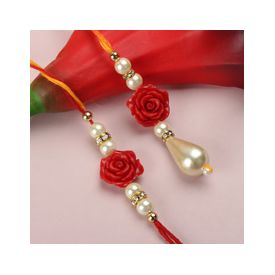 Cute Rose Rakhi Lumba Set