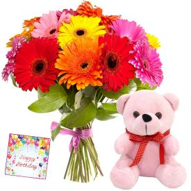 A bunch of 20 mixed gerberas, and brown 6-inch teddy bear
