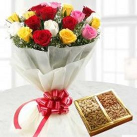 Mixed roses and Dry fruits