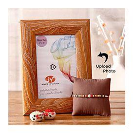 Personalized wooden border frame with lovely rakhi.