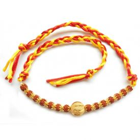 Rudraksha Golden Rakhi with Roli Chawal