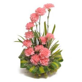 Pink Carnations in Basket