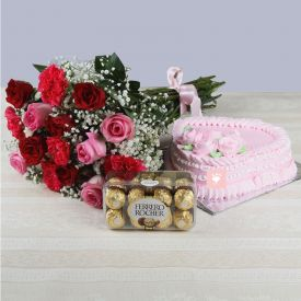 Bunch of 15 Roses and carnation, heart shaped strawberry cake with Ferrero Rocher