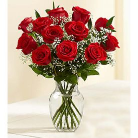 10 Red roses with vase