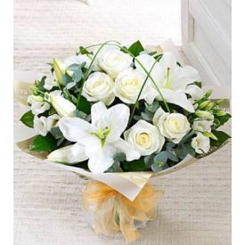 Bunch of 12 white lilys and 9 white roses with  vase