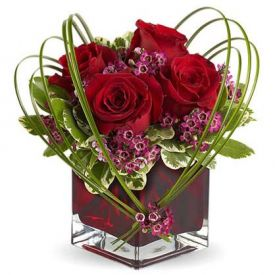 4 Red rose with vase