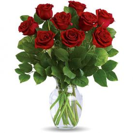 9 Red rose and fresh lemon leaves graceful vase