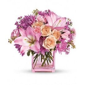 pink and lavender blooms are a sweet stylish pink glass cube vase