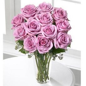 12 Long Stem Lavendar Roses