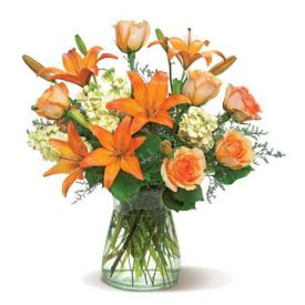 6 yellow stock, 6 peach roses, 6 orange Asiatic lilies, 4 stems lemon leaves, 4 stems misty blue, bu