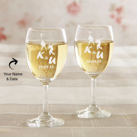 Engraved Wine Glasses: Set Of 2
