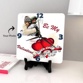Square Wooden Heart Clock