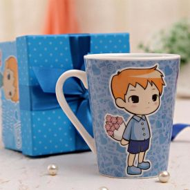 Printed Blue Mug In Gift Box