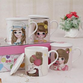 Four Ceramic Mugs Set In Gift Box