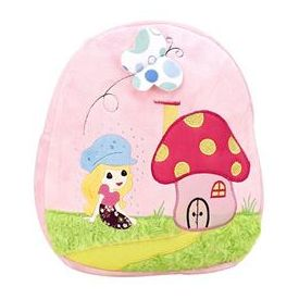 Mushroom House Embroider Soft Toy Bag Light Pink