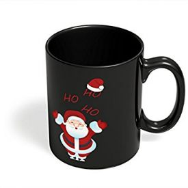 PosterGuy Santa Claus Ho-Ho-Ho Illustration Christmas, Santa Claus, Party, Funny Black Coffee Mug