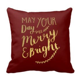 Elegant Golden Christmas burgundy chic Throw Pillow