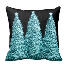 Elegant Christmas Trees Turquoise Throw Pillow