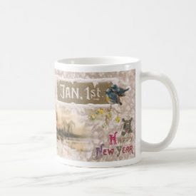Little Blue Birds Tweet the New Year Coffee Mug