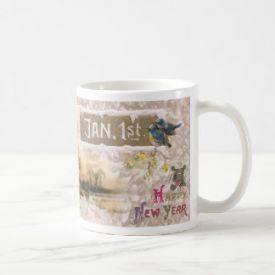 Little Blue Birds Tweet the New Year Coffee Mug
