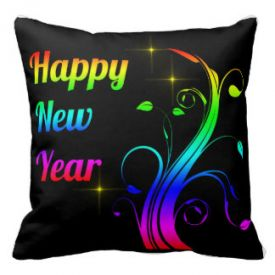 Happy New Year colorful Throw Cushion