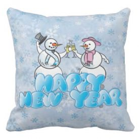 Happy New Year Snowman Throw Pillow